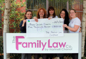 The charity team from The Family Law Company hand over a cheque for £5,000 to Naomi Cole of FORCE.