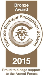 Logo for the bronze award for defence employer recognition scheme of 2015