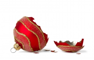 a broken christmas bauble used on our article about don't blame christmas for divorce & break ups.